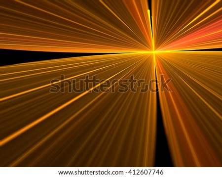 Abstract bright rays background - computer-generated image. Simple modern background - rays emanating from the center. Fractal artwork for banners, posters, web design - stock photo