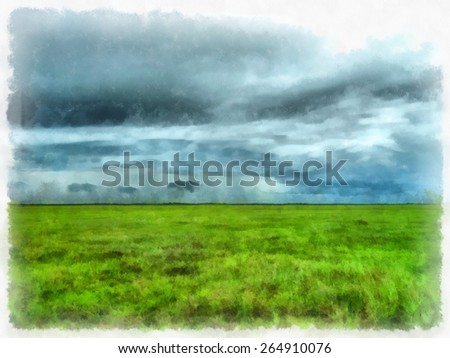 Abstract bright watercolor background,green grass field and bright blue sky,painting texture illustration