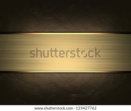 Abstract brown background with gold nameplate. - stock photo
