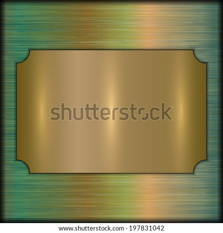 abstract brushed gold award plate on beige background - stock photo