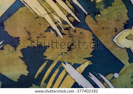 Abstract brushstrokes, fragment, hot batik, background texture, handmade on silk,  surrealism art