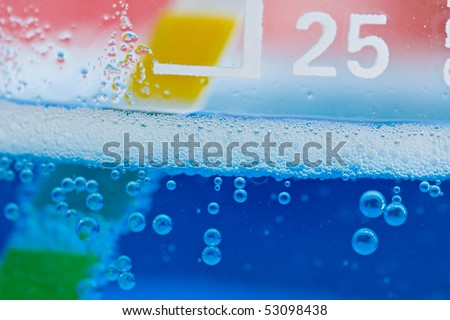 Abstract bubbles of Chemicals reacting with PH indicator - stock photo