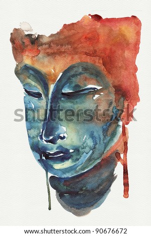 Abstract buddha  watercolors high resolution