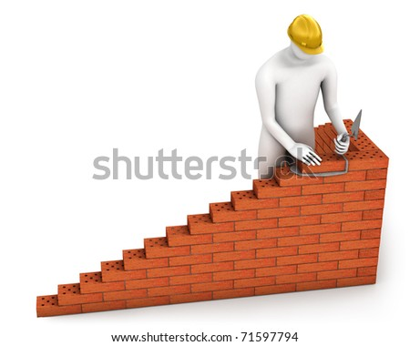 Abstract builder places a brick isolated on white background - stock photo