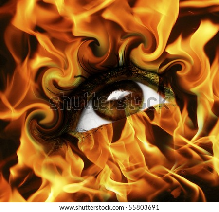 abstract burn eye with fire - stock photo