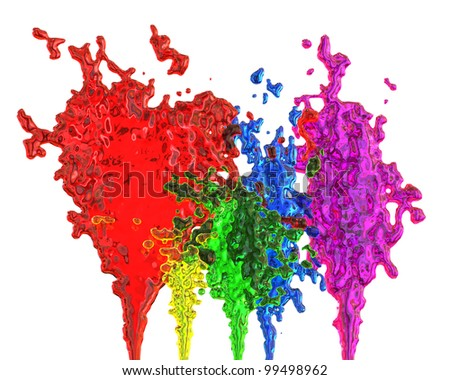 abstract bursts of colored liquid on a white background