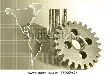Abstract business background in sepia with map and gears. - stock photo
