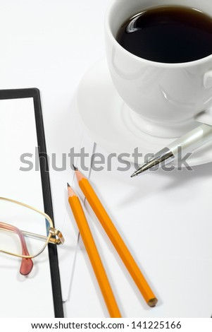 abstract business background with office supply - stock photo
