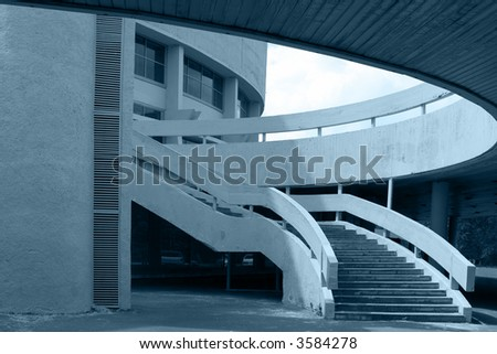 abstract business building in blue