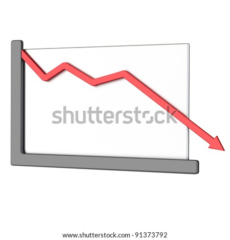 Abstract business graph - red arrow down 3d
