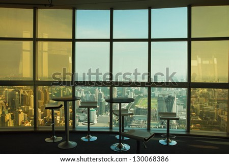 abstract business interior with glass wall and panoramic view - stock photo