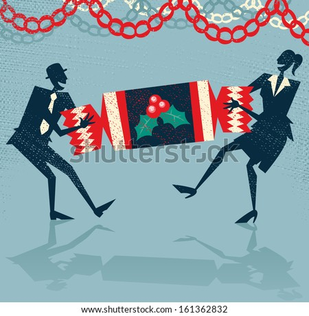 Abstract Business People enjoy Christmas Party. Great illustration of Retro styled Businessman and Woman pulling a huge Christmas cracker at their Christmas party to celebrate a year of success. - stock photo