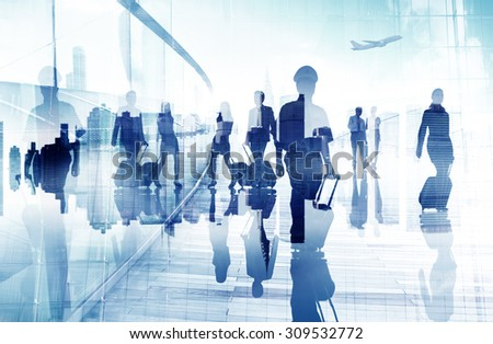Abstract Business People Walking Concept