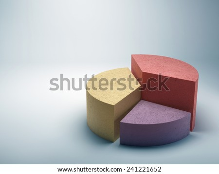 Abstract business pie chart made from colored concrete - stock photo