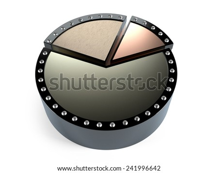 Abstract business pie chart made from metal - stock photo