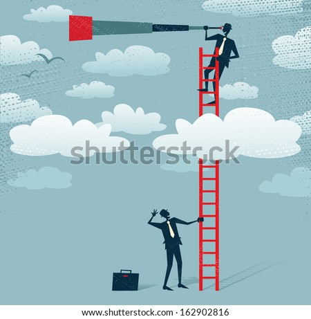 Abstract Businessman gets a better view. Great illustration of Retro styled Businessman climbing above the clouds to get a better view of the landscape than his competitors. - stock photo