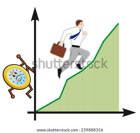 Abstract Businessman holding back Time. - stock photo
