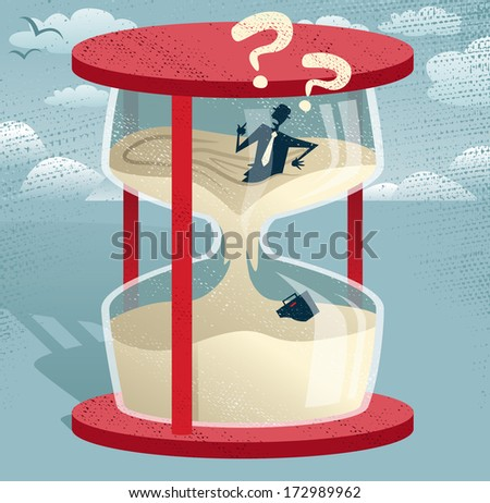 Abstract Businessman Trapped in Egg timer.  Great illustration of Retro styled Businessman desperately trying to hold back time as the sands of time get the better of him.  - stock photo