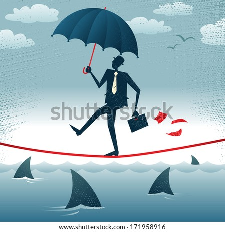 Abstract Businessman walks Tightrope with Confidence. Great illustration of Retro styled Businessman walking carefully across a very high tightrope with his umbrella for added protection.   - stock photo