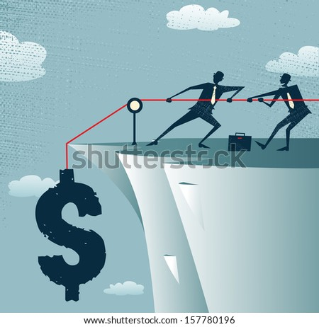 Abstract Businessmen work together to save the money. Great illustration of Retro styled Businessman standing on the cliffs saving the money by pulling up the Dollar. - stock photo