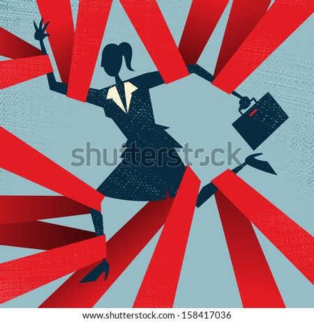 Abstract Businesswoman caught in Red Tape. Great illustration of Retro styled Abstract Businesswoman caught up in bureaucratic red tape. - stock photo