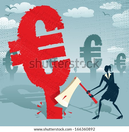 Abstract Businesswoman cuts down the Euro.  Great illustration of Retro styled Businesswoman cutting down a giant European Euro Tree with her razor sharp Axe. - stock photo