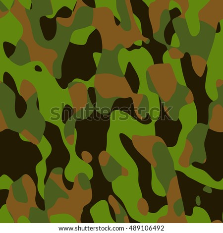 Abstract camouflage pattern - computer-generated image. Chaos spots and stains. Classic green four-colors camouflage. For prints, backdrops, covers.
