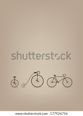 abstract card template with three bike silhouettes raster version - stock photo