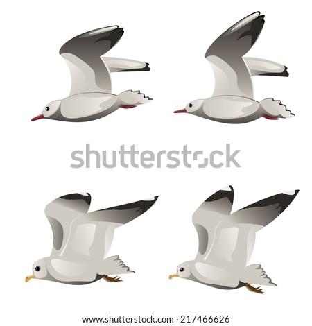 Abstract cartoon flying seagulls illustration on white background. - stock photo