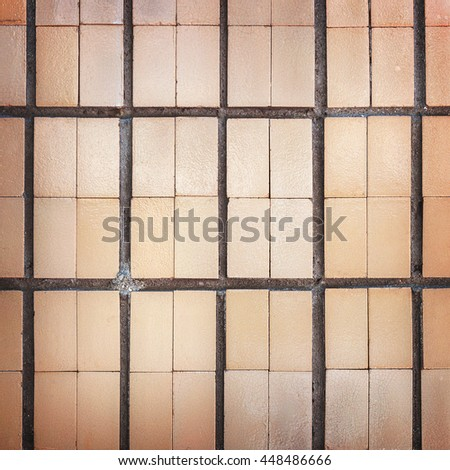 Abstract ceramic tile, weathered with cracks and scratches. Landscape style. Surface roughness. Great background or texture.