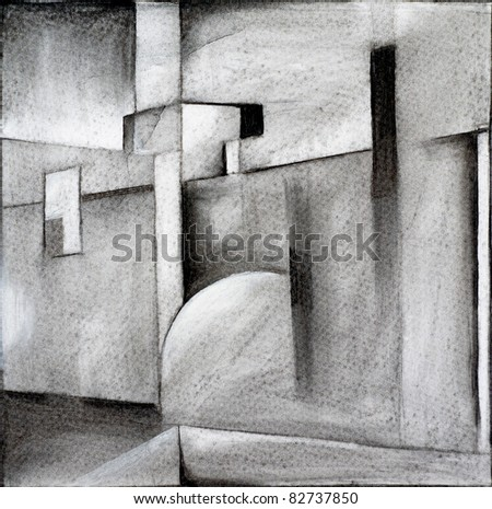 abstract charcoal drawing - stock photo