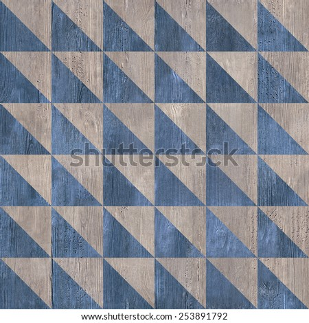 Abstract checkered pattern - abstract triangular background - decorative mosaic - seamless texture - wooden surface - Continuous replication