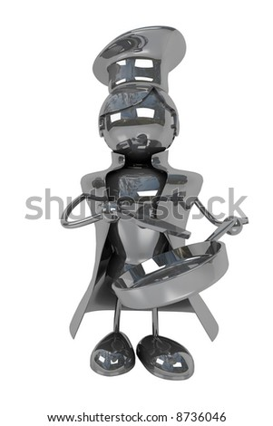 abstract chef, isolated, white background, industry workers