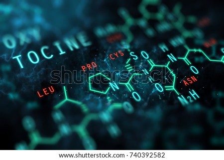 Abstract chemical formula background. Physics concept. 3D Rendering