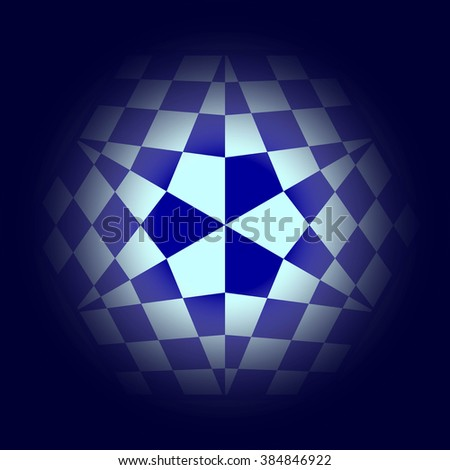 Abstract Chess Background. Blue Structure for Your Design of Logo. Raster Illustration