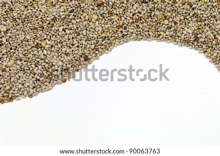 Abstract Chia Seeds on white background - stock photo