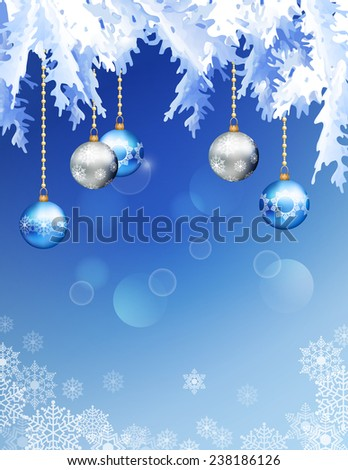Abstract Christmas and New Year Background with Christmas tree branches, Xmas ornaments