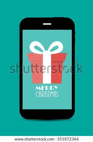 Abstract Christmas and New Year Mobile Phone Background. Illustration  - stock photo
