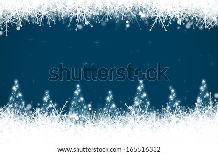 Abstract christmas background with christmas tree and snowflakes.