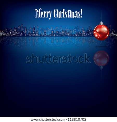 abstract Christmas background with decoration and silhouette of city - stock photo