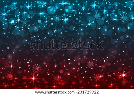 Abstract Christmas background with snowflakes and shiny stars, blue, red color. New year lights, starry sky  - stock photo