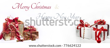 Abstract Christmas composition. Winter abstraction. Christmas decorations on white table with design elements. Can be uses as horizontal banner.