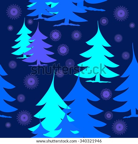 Abstract Christmas decoration background, blue, mint green and purple fir trees with purple stars on dark purple, seamless pattern, happy and dreamy  - stock photo