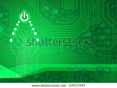 Abstract christmas electronic tree on a dark green background - stock photo