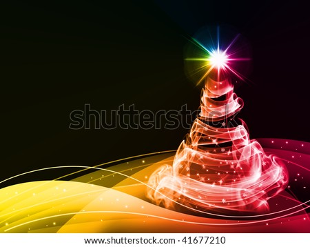abstract christmas three on blue background - stock photo