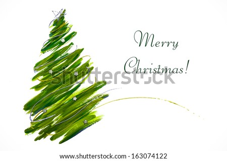 Abstract Christmas tree card - stock photo