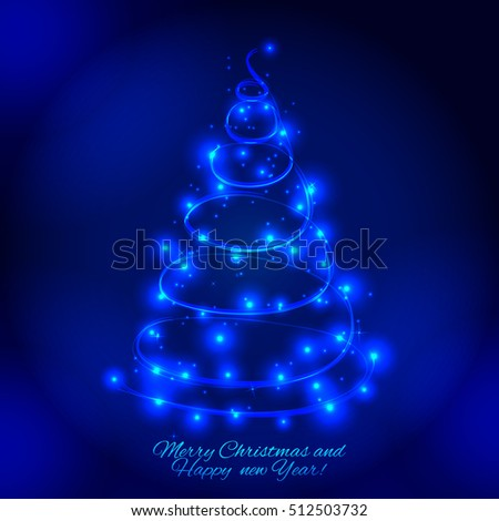 abstract christmas tree made of sparkles and lights greeting card - Christmas Tree Made Of Lights