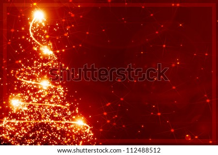 Abstract christmas tree on a red background - stock photo