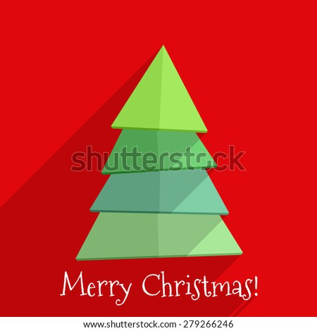 Abstract christmas tree on red background, flat design with long shadows