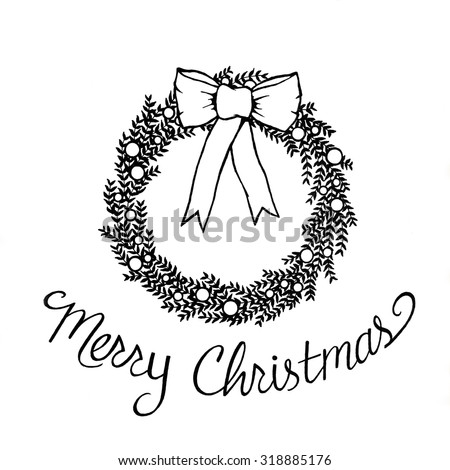 abstract Christmas wreath illustration, hand drawn branches and berries decoration, Christmas symbol clip art, modern fresh elegant style drawing, black and white for printing